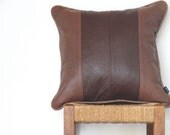 Tan Leather Pillow ...  Luxe Piped Brown and Maroon Sofa Cushion