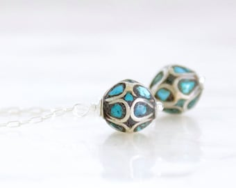 Antique Turquoise Mosaic Bead Earrings in Sterling Silver - Eco Friendly Recycled Nickel Free Silver - Ready to Ship