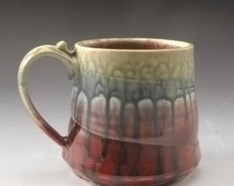 Red Fern and Blue Large Mug Handmade Pottery Porcelain by Mark Hudak