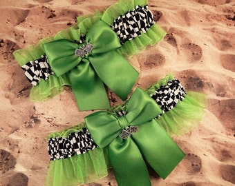 Racing Kiwi Lime Green Satin Lime organza Checkered Flag Charm Wedding Garter Bridal Toss Set