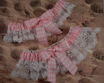 Light Pink Gingham Check White Lace Wedding Garter Bridal Toss Set