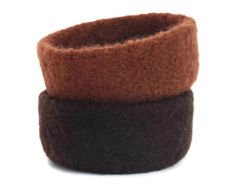 Felt Bowls Set Of 2 Dark Chocolate Brown & Sugar Knitted Felted Baskets Containers Soft Storage Desk Organizer Ring Dish Student Kids