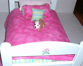Wood Doll  Bed Includes Reversible Quilt fits American Girl or other 18 inch Dolls Doll Furniture