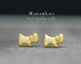 "925 Silver Mini Ear studs ""DOG"" Hand Gilded"
