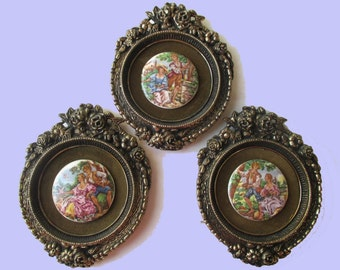 Set Of Three Vintage Victorian Style CAMEO MEDALLION  Wall hangings * Courting Couple