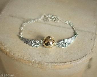 Silver Wings  bracelet, Bracelet, Golden Snitch, Bronze Bracelet, Gold Ball Bracelet, Gift, Christmas, Birthday, Teen gift
