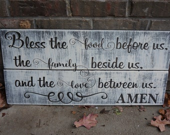 ON SALE In Stock and Ready to Ship Bless the Food before us the Family beside us and the Love between us Amen Distressed Wood Decoration