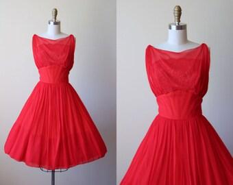 1950s Dress - Vintage 50s Party Dress - Red Silk Chiffon Nude Illusion Lace Goddess Cocktail Dress S M - Cherry Bomb Dress