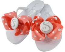 Coral Polka Glitter Wedding Flip Flops- all colors and sizes. Personalized for Ladies, Girls, Bridesmaid, Flower Girl sandal