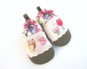 Classic Oxford Vegan Pink Owls / Non-Slip Soft Sole Baby Shoes / Made to Order / Babies Toddlers