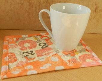 Pink and Orange Camera Fabric Mug Rug