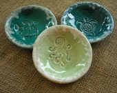 Set of Three Nautical Bowls - Small Beach Bowls - Dipping Bowls -  Nautical Pottery - Ring Holders