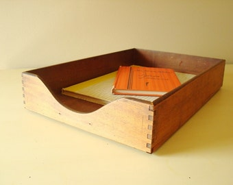 Mid-century wood in-out box with dovetail corners, letter tray, legal size, industrial office storage