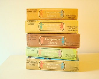 5 Companion Library books, 10 children's books, 1960s Tom Sawyer, Huck Finn, Robinson Crusoe, Pinocchio, Robin Hood, Kidnapped, King Arthur