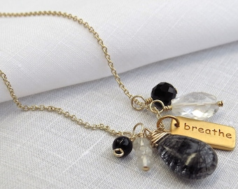 Yoga Jewelry Gold Breathe Necklace Yoga Necklace Breathe Jewelry Gold Charm and Gemstones, Rutilated Quartz, Crystal