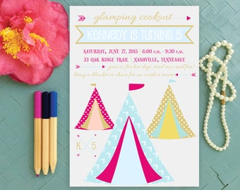 Glamping Birthday Party Inivtation, Girl Camping Party, Sleepover Invite, End of the Year Back Yard Celebration, Girly Tents and Teepees