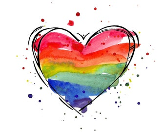 Rainbow Heart Print    watercolor print, LGBT gifts, Unique Gifts, Watercolor Gift, Art Gift, Inspiration Art, rainbows,