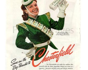 1941 Chesterfield Cigarettes Vintage Ad, Retro Cigarette Ad, Advertising Art, 1940's Majorette, Patsy Garrett, 1940's Parade.