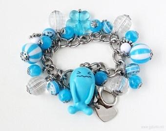 Wobbuffet Charm Bracelet, Blue Bracelet, Chain Bracelet, Pokemon Bracelet, Pokemon Jewelry, Pokemon Gifts, Gamer Girl