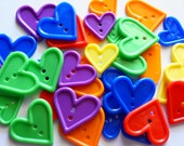 25 pcs - Love Hearts Buttons - 2 hole - Size 25mm to 33 mm Mix Color
