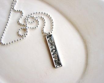 Minimalist Bar Necklace, Silver Bar Necklacel, Pendant Necklace, Glitter Necklace, Layering Necklace, Boho Geometric Necklace