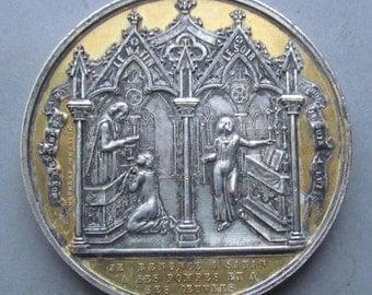 Antique French Sacrament Religious Medal Baptism, Communion and Confirmation Circa 1860   SS190