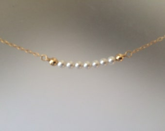 Petite Fresh Water Pearl add Gold Necklace, Gold Filled, Everday Necklace, Layering Necklace, simple, mothers necklace, gift for her