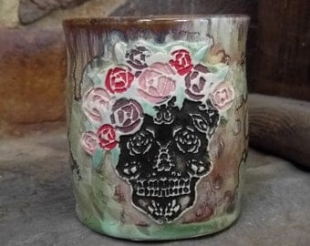 Hers Art Nouveau Style Day of the Dead Sugar Skull With Rose Flower Crown Stamped Rust Red Green Beige Crystalline Glazed Coffee Mug