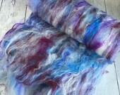 Fiber Art Batt - Spinning Batt - Roving Felting - Royal Baby Alpaca /Teeswater lamb locks / Soffsilk / Bamboo /Sparkle (textured)  2 oz