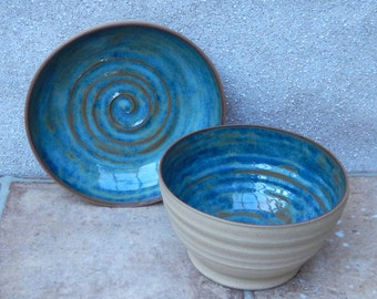 Pair of serving bowls hand thrown stoneware soup bread