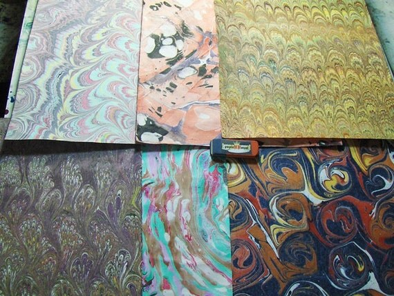 Hand marbled  paper, card making,   Pack 6 scrapbook , papier marbrè , マーブル紙 cm 25 x 35  -  470