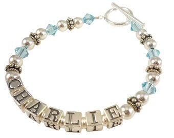 Aquamarine Mother's Bracelet or any birthstone crystals - customized with name and swarovski- any personalization and size