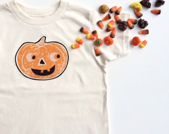 Mr. Pumpkin Tee - in Natural on an American Apparel  Unisex Organic Cotton Tee