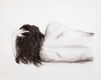 Original Female Figure Study 'no. 1' Large Watercolour Painting on Smooth Paper 70cm x 50cm
