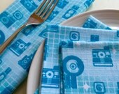 Everyday Flannel Napkins - set of 4 - washable reuseable eco friendly - Retro Cameras