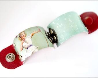 Pinup Girl, Pinup Art Cuff, Rockabilly Jewelry, Archery Bow, Rockabilly Clothing, Pinup Clothing, Pinup Art