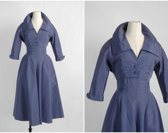 1950s vintage purple silk taffeta dress + bolero * designer Adele Simpson 5S918