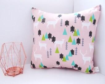 Beautiful Deer Stag Tree Print Cushion - Scandi Style Geometric Print Pillow - Pink White Black Teal Green Grey Gray Cushion