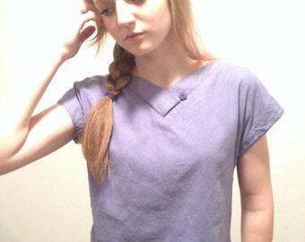 90s Silk Shirt, Kimono Sleeve Shirt, Dusty Blue Top, Short Sleeve, Raw Silk Blouse, Avant Garde Minimalist Shirt minimal V Neck Small Medium