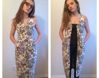 Floral Jean Dress, Button Down Dress, Jean Midi Dress, Long Denim Dress, Long Vest, Small Medium Dress Floral Denim Hipster 90s Grunge