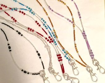 Lot of 6 Beautiful Colorful Glass Beaded Lanyards