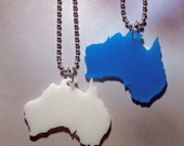 Australia Necklace in Blue or Cream Color Acrylic