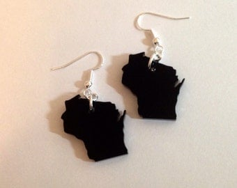 Wisconsin Shape Earrings in Black Acrylic - Laser Cut State Jewelry