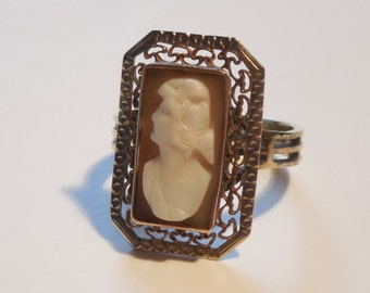 1900s Antique 10k Rose Gold Filigree Victorian Edwardian Cameo Ring