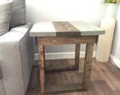 wood side table, gray end table, nightstand, handmade furniture, gray room,  square table, reclaimed wood, rustic furniture, farmhouse decor