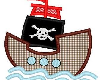 Pirate Ship Machine Embroidery Applique Design