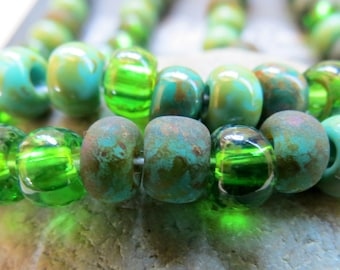 NEW AGED MIX .  Czech Picasso Seed Beads . size 32/0  ( 20+ beads)