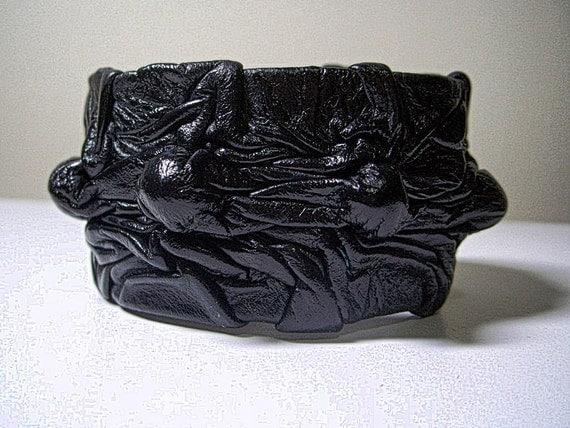 Black Adjustable Leather Cuff Bracelet for Men