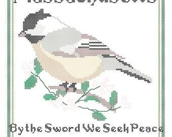 Massachusetts State Bird, Flower and Motto Cross Stitch Pattern PDF
