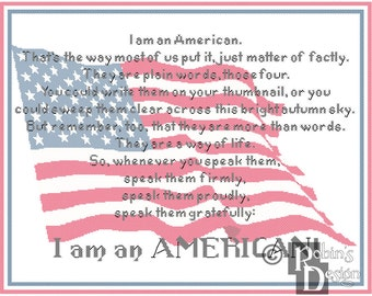 I am an American Cross Stitch Pattern PDF